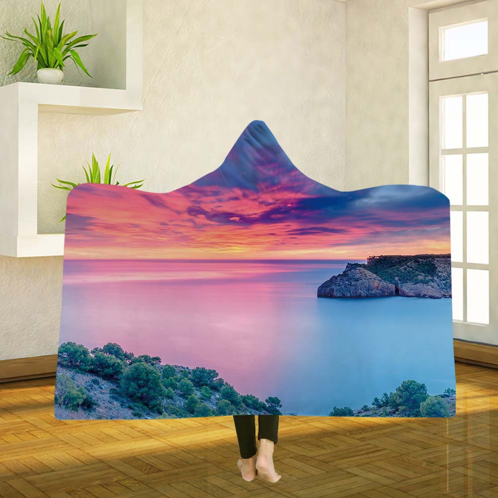 Yoga mat Hooded Blankets Magic Hat Blanket Thick Double layer Plush 3D Digital Printing Beach scenery Series in Blankets from Home Garden