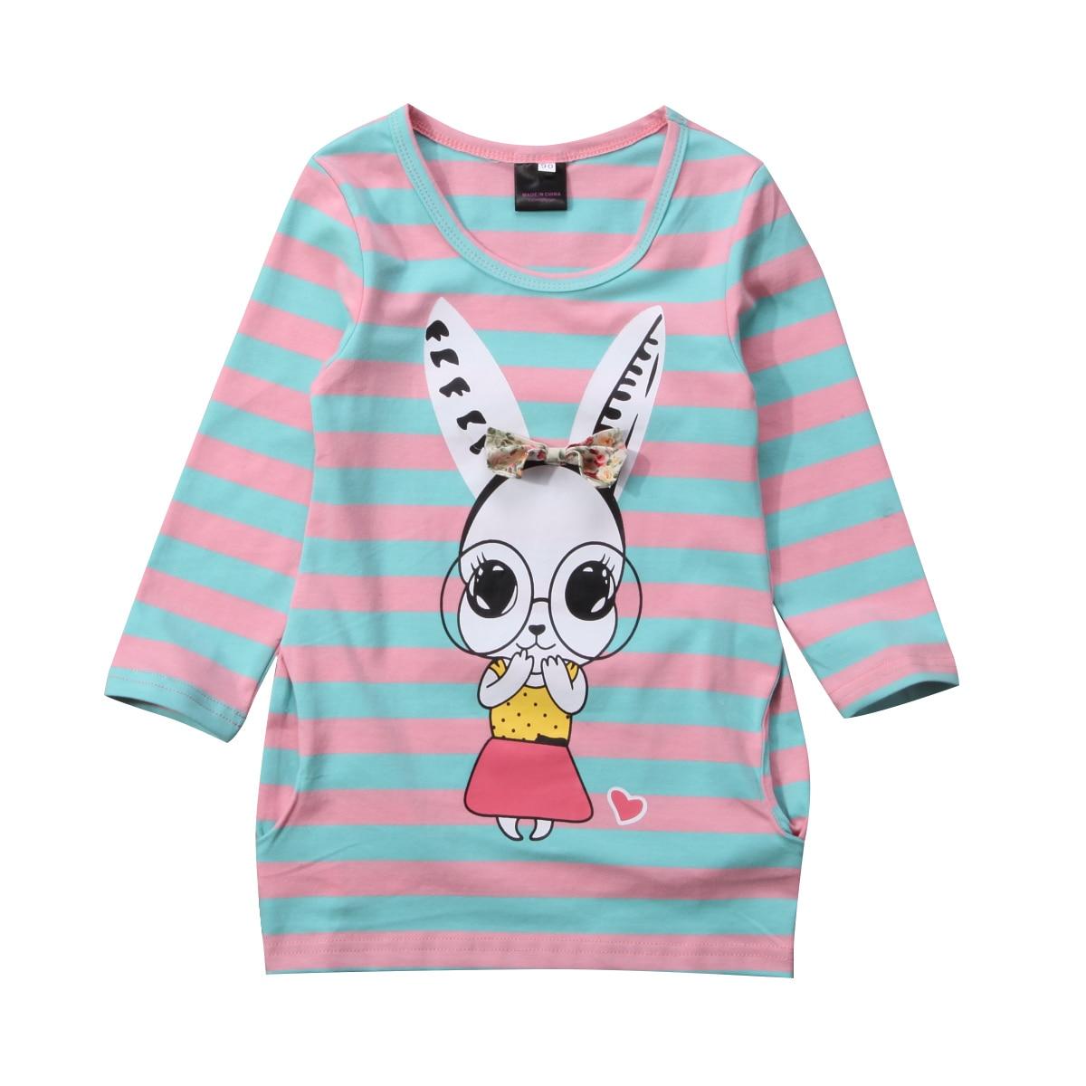 Мультфильм Дети для маленьких девочек кролика Футболка Топ в полоску с бантом Хлопковое платье наряды одежда От 2 до 7 лет