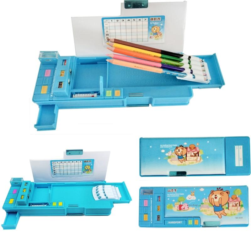 Creative Multifunction Automatic Pencil Case Kawaii Cute Pupils Pencil Box Escolar School Papelaria Penalties Chancery Calendars