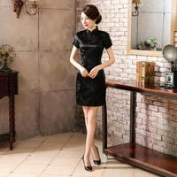 High Fashion Black Chinese Lady Satin Cheongsam Summer New Short Qipao Vintage Sexy Evening Dress Flower