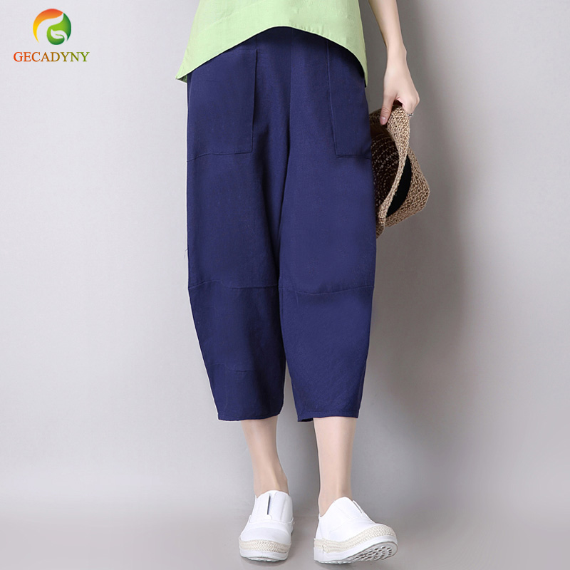 Women Vintage Harem   Pants   Cotton Linen Loose Baggy Pocket Cropped Trousers Slacks Elastic Waist Solid   Pants     Capris   Female