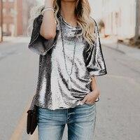 Women Sequine T Shirt Spring 2018 Fashion Short Sleeve T Shirt Casual Loose Female Blusas Solid