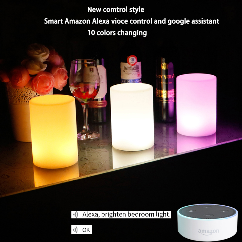 Smartphone Wedding Night Light USB Table Lamp Echo Alexa Dot Voice Control Bedroom Bookcase Night Light For Dad Friends Gifts
