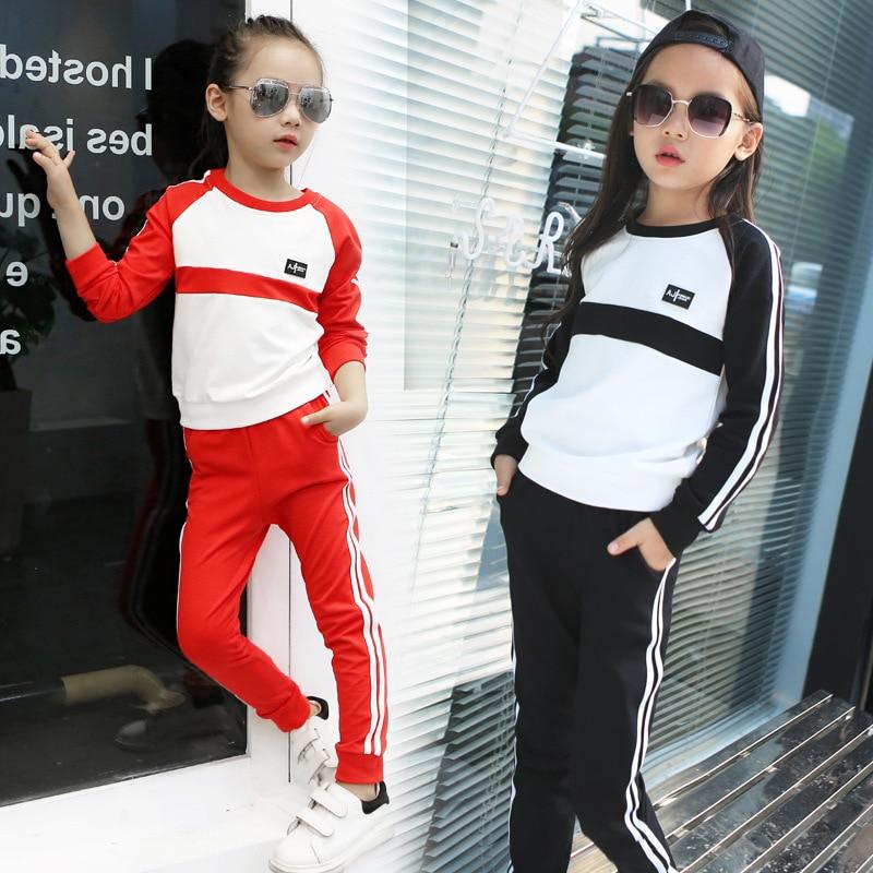 ФОТО 4-13 years girls clothing set spring autumn kids girls sport suit set cotton long sleeve t-shirt + pant girls clothes set teenag