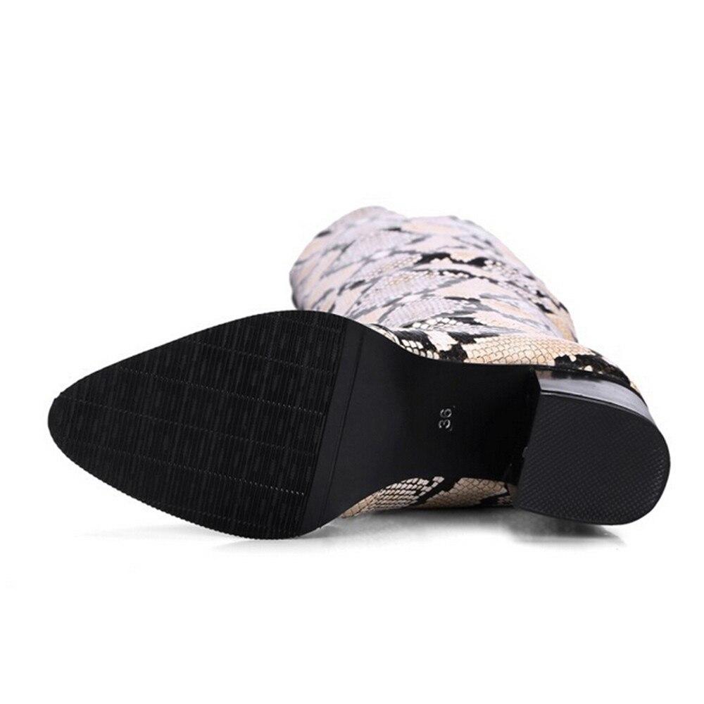 La Zapatos Botas Patrón Martin Retro Femenina Boot Beige Tacón Muqgew Rodilla Knight Serpiente Mujeres Sobre De Alto Las CwvHXq7