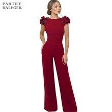 Новое поступление Изящные Аппликации дизайн сексуальное короткое платье с открытой спиной рукава знаменитостей вечерние Клубные красный комбинезон женский комбинезон