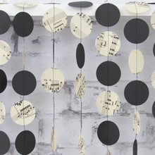2m/6.5ft Sheet Music Garland Note Paper Circle Dots Themed Party Banner Orchestra Wedding Room Decor