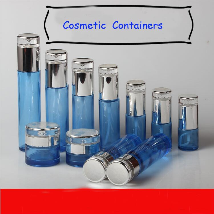 10Pcs/Lot Superior Arcylic Cosmetic Cream Jars, Blue Glass Empty Lotion Bottle, Liquid Spray Vial Bottle, Toner Packing Bottle 100 pcs lot of small glass vials with cork tops 1 ml tiny bottles little empty jars