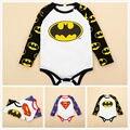 2016 Mono Del Bebé Recién Nacido 0-24 M Infantil Kids Algodón de Manga Larga Superman Batman Uno Junta Las Piezas Playsuit Ropa de Bebes