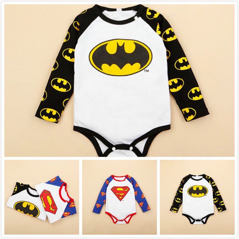2016 Newborn Baby Bodysuit 0-24M Infant Kids Long Sleeve Cotton Superman Batman One Pieces Playsuit Bebes Clothes