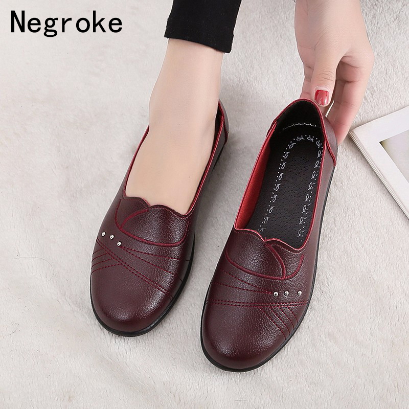 2019 New Women Ballet Flats Shoes Slip On Loafers Soft Leather Women's Moccasins Shallow Boat Shoes Ballerina Zapatos Mujer