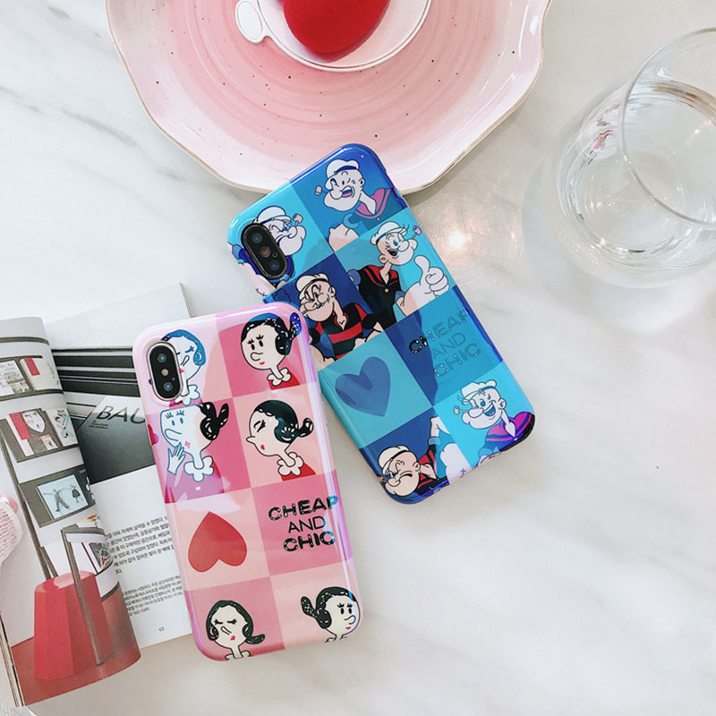 Cartoon Popeye the Sailor Phone Case For iphone X Case For iphone 6S 6 7 8 Plus Cases Cute Blu-ray Lovers Heart Soft Cover Capa