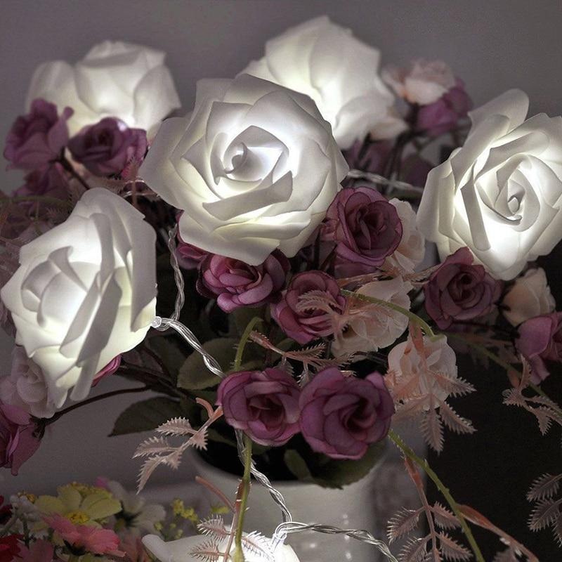 Garland 20pcs / set Rose Flower Fairy luces decorativas lampu tali - Pencahayaan perayaan - Foto 3