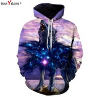 BIANYILONG 3D Printed Wolf Hoodies Men Women Unisex Sweatshirts 3d Print The Wolves Lion Hooded Hoodies