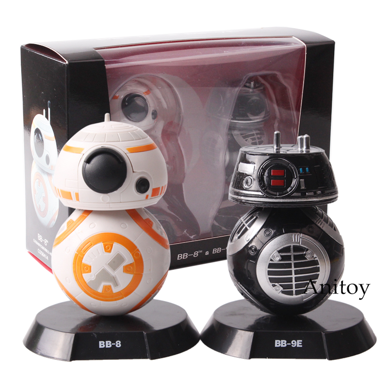 Star Wars The Last Jedi Robot BB-9E & BB-8 Bobble Head Dolls Star-Wars PVC Action Figure Collectible Model Toy 2 Pack 8cm