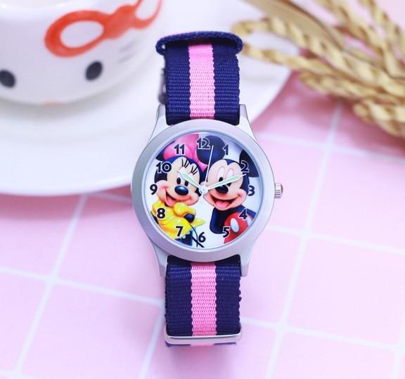 2018 Newest Cartoon Cut Mickey Minnie Kids Nylon Strap Clock Watch Girls Students Women Gifts Good Quality Quartz Wristwatch