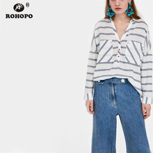 цена на ROHOPO Women Long Sleeve Pullover Loose Blouse Autumn Female Top Bottons Striped Cotton Linen High and Low Shirt Blouse #OYK8315