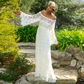 elegant plus size bohemian lace wedding dresses with long sleeves bridal gown vestidos de noiva robe de mariage 2017