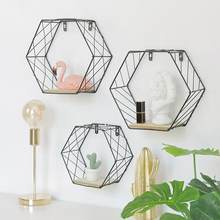 Iron Hexagonal Grid Wall Shelf Combination Wall Hanging Geometric Figure For Wall Decoration Living Room Bedroom Nordic Rack(China)