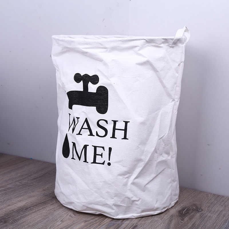 LRAOZOYM Carta Impressão Dobrar cesto de Roupa Suja Cesta Saco de Armazenamento De Roupas À Prova D' Água Brinquedos Para Crianças Quarto Banheiro 40*50 cm LR214