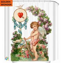European Style Shower Curtain Waterproof Bathroom Curtain Curtain For The Bathroom Thick Angel Oil Painting Home Decor 180*200cm valentine s day heart angel printed shower curtain