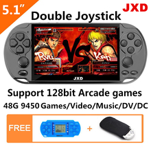 JXD 48GB 5.1 inch double joystick video game console build in 9450 game for arcade neogeo/cps/gba/gbc/gb/sens/nes/smd mp5 DV/DC цена