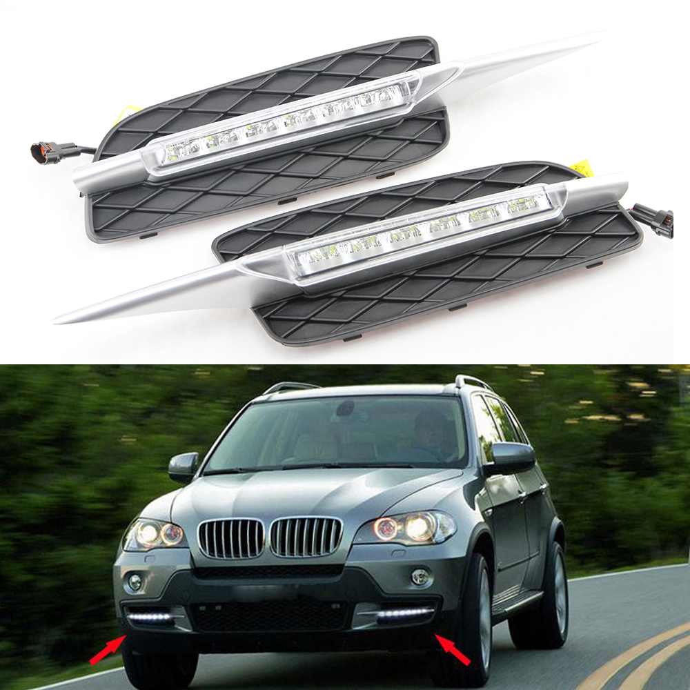 100% Plug and play 2x White LED Daytime running light drl led For BMW E70 X5 2007 2008 2009 2010 Day Fog Light DRL Run lamp