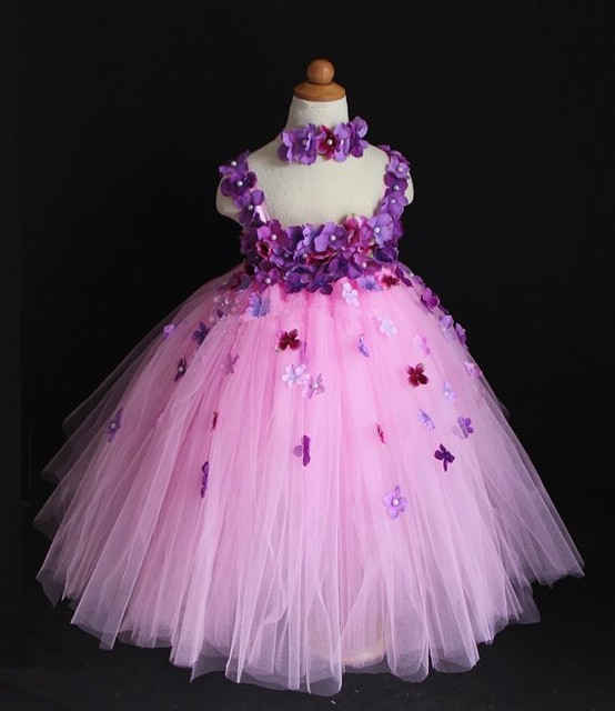 b7a2f70bffba2 New Girls Flowers Crochet Tutu Dress Kids Fluffy Pink Tulle Tutus Ball Gown  with Lace Straps and Headband Children Party Dresses