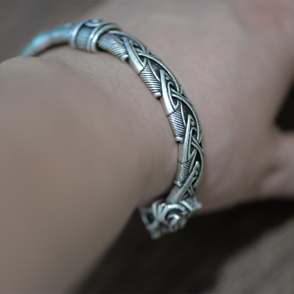 LANGHONG 1pcs Viking Bracelet and Bangle Wolf Head Bracelet For Men and Women Talisman Jewelry