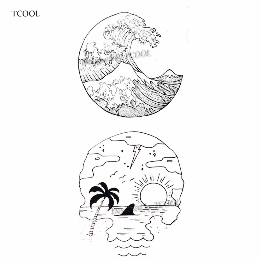 HXMAN Wave Beach Temporary Fake Tattoo Body Art Sticker Waterproof Fashion Hand Tattoo Sticker For Men 9.8X6cm Hot Design E-019