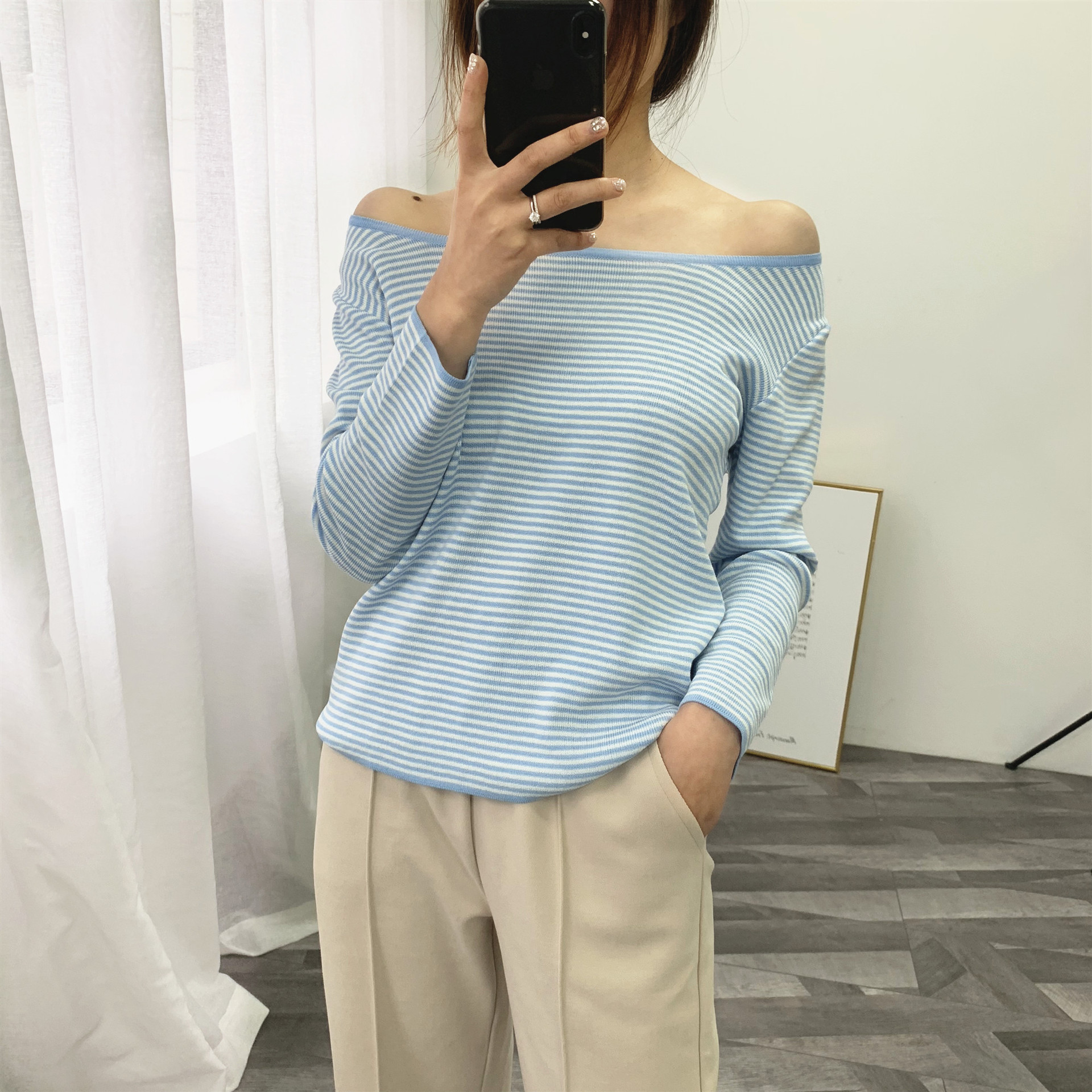 Slash Neck Autumn Winter Stripe Sweater Women Slim Pullover Sweater Large Size Knitted Basic Female Jumpers Koean Style AA061S50(China)