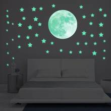 Glow In Dark Wall Ceiling Stars Moon Stickers Wall Stickers Night Kid Home Decor(China)