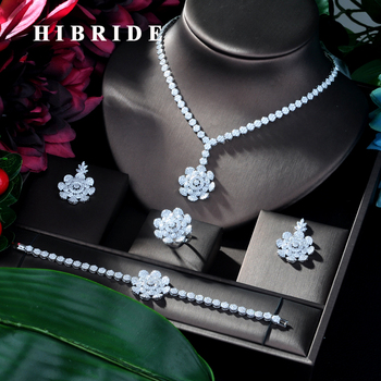 HIBRIDE New Bridal Wedding Jewelry Sets AAA Cubic Zinconia Flower Design 4pcs Big Set Necklace for Women Party Accessories N-110