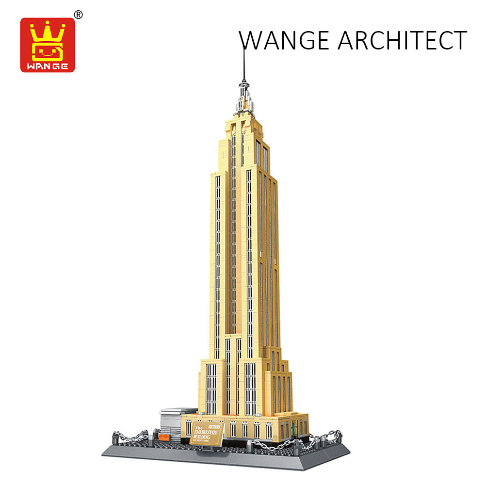 WANGE Compatible Building Blocks City Diy Creative Bricks Toys Empire State Building Architecture Model Educational Children Toy wange 8011 new famous architecture series the kuala lampur petronas tower 3d model building blocks classic toys for children