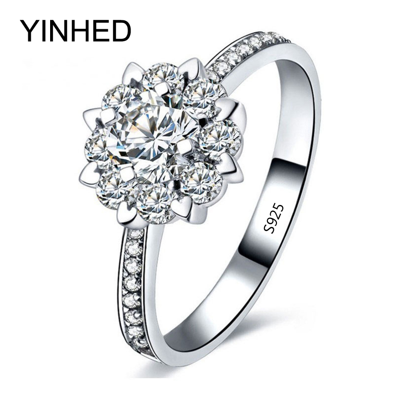 yinhed luxury women engagement ring jewelry 925 sterling silver cubic zircon - Cute Wedding Rings