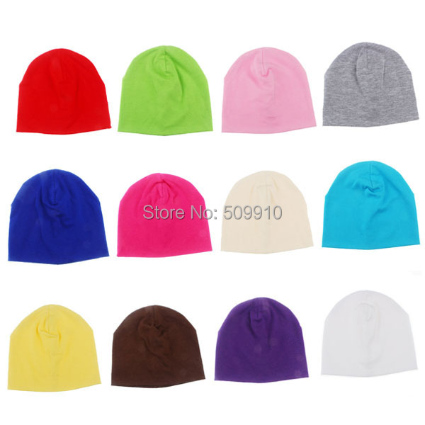 New Spring Autumn Cotton Baby Pure color Hat Candy Color Boy Girl Infant Caps Newborn Baby Beanies Two Sizes 10pcs/lot SW050