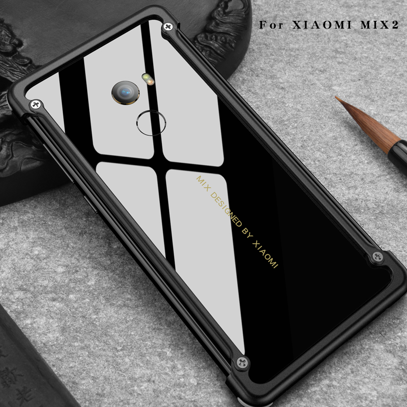 Airbag Metal Case For Xiaomi Mi Mix 2 Case Personality Airbag Shell for Mi Mix Metal Bumper cover case with Gift Glass Film
