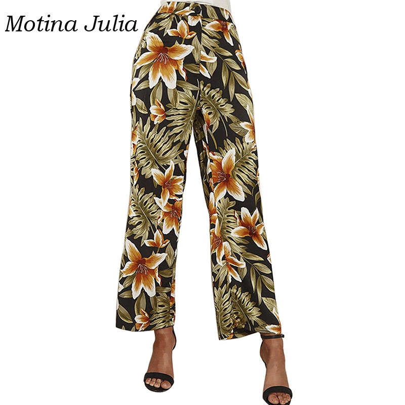Motina Julia chic floral print wide leg pants boho beach empire waist female trousers bottom streetwear long pants