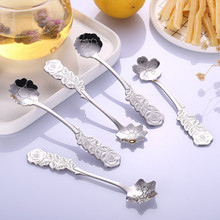 Dropshipping Stainless Coffee Spoon Flower Shape Dessert Ice Cream Can