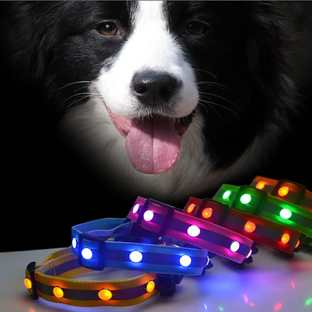 HOT SALE NEW Arrivals Flashing Glow Gem Light LED Pet Dog Collar Adjustable Luminous Safety Collar #1DQ