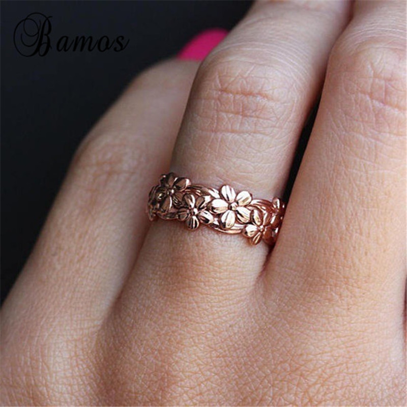 Bamos Female Cute Daisy Flower Finger Ring Vintage Rose Gold Filled Engagement Rings For Women Fashion Wedding Jewelry Best Gift|Rings|   - AliExpress