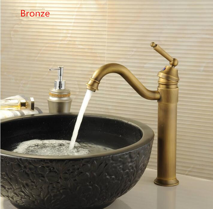 fashion brass material bronze finished single lever hot and cold bathroom sink high basin faucet mixer free shipping free shipping high quality chrome finished brass in wall bathroom basin faucet brief sink faucet bf019