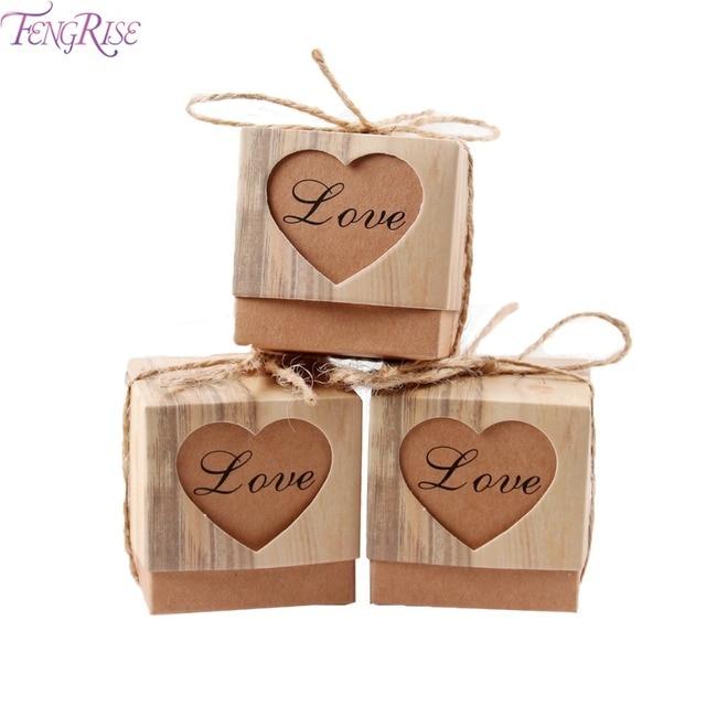 FENGRISE 100 шт. свадебные сувениры и подарки для гостей коробка для конфет из крафт-бумаги с деревенским шпагатом из мешковины винтажное свадебное украшение