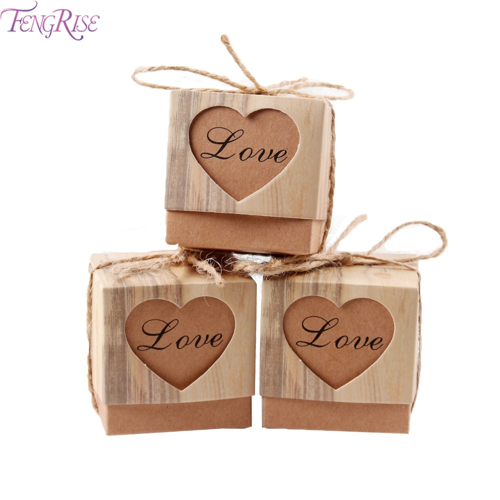 FENGRISE 100pcs Wedding Favors and <font><b>Gifts</b></font> for Guests Kraft Paper Candy Box With Rustic Burlap Twine Vintage Wedding Decoration