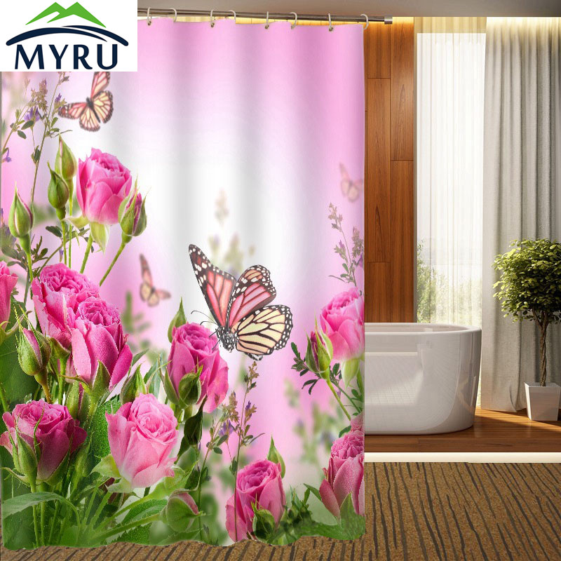 3D floral style shower curtain Pink Rose and Butterfly printing personalized waterproof shower curtain bathroom curtain