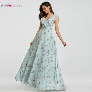 Image 4 - 2020 חדש שושבינה שמלות אי פעם די EP07242 נשים ארוך שיפון מודפס חוף שמלות אונליין חתונת אורח המפלגה שמלות