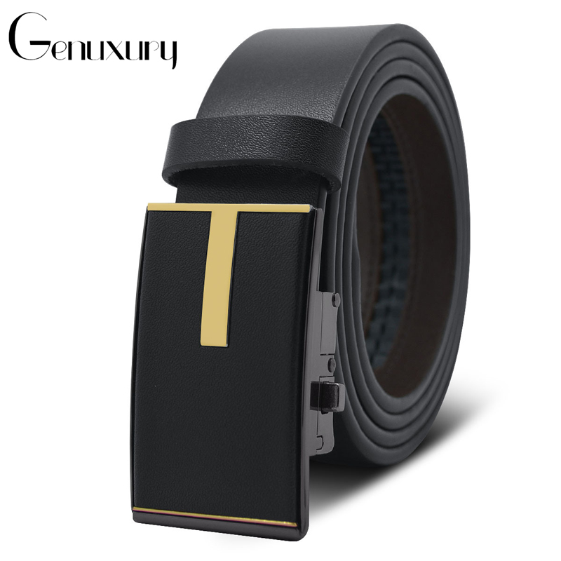 Genuxury Black/Brown Color Fashion Design Male Belts Casual Ratchet Dress Genuine Leather Belt for Automatic Buckle