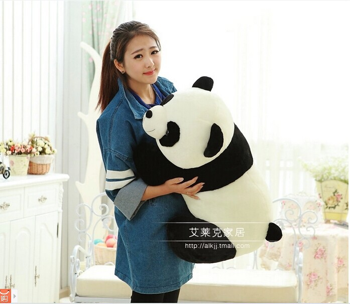 huge 70cm simulation panda plush toy prone panda doll throw pillow Christmas gift w2479 lovely giant panda about 70cm plush toy t shirt dress panda doll soft throw pillow christmas birthday gift x023