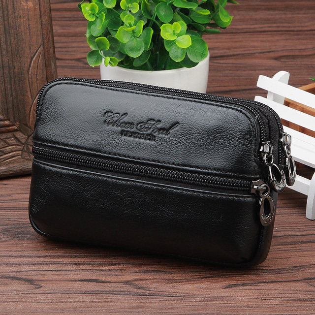Hot sale Cowhide Genuine Leather Fashion Mobile Phone Cover Case skin Hip Belt Bum Purse Fanny Pack  Fallow Waist Bag Pouch