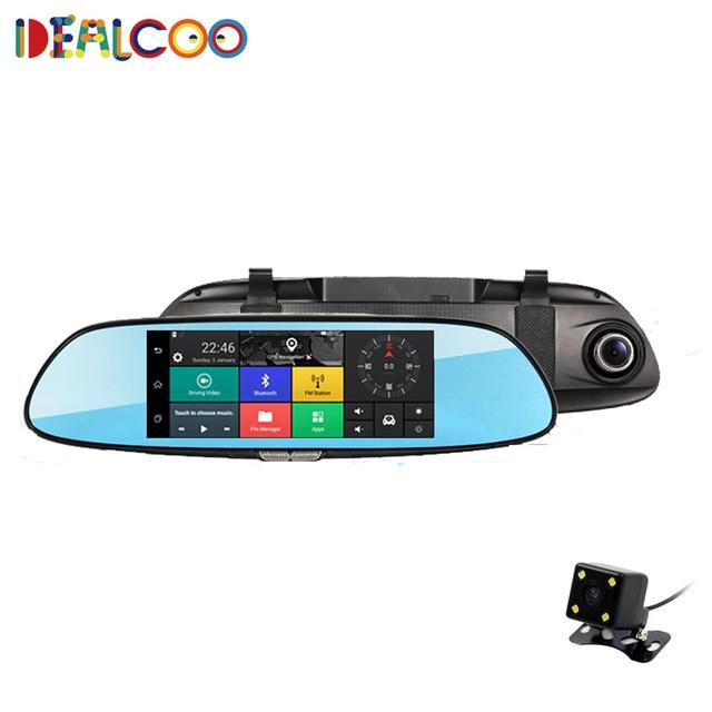 7 дюймов TFT LCD Сенсорный Экран Android 4.4 Автомобильный ВИДЕОРЕГИСТРАТОР Запись Заднего Вида автомобиля антибликовое Зеркало Монитор С Bluetooth GPS WI-FI Камера Автомобиля